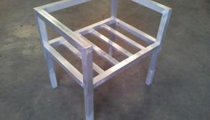 Butaca en aluminio, previa a pintura