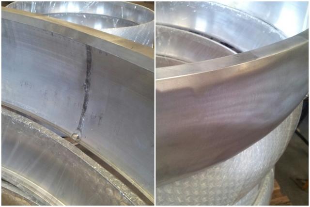 Fabricación por soldadura. Soldadura pieza aluminio. Acabado