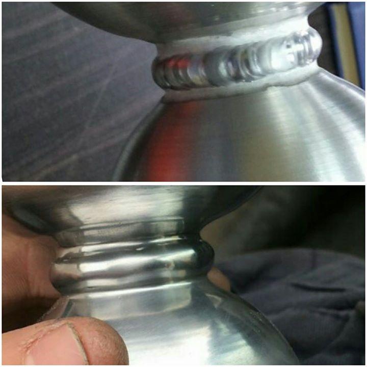 Soldadura de aluminio tras repasado de la misma