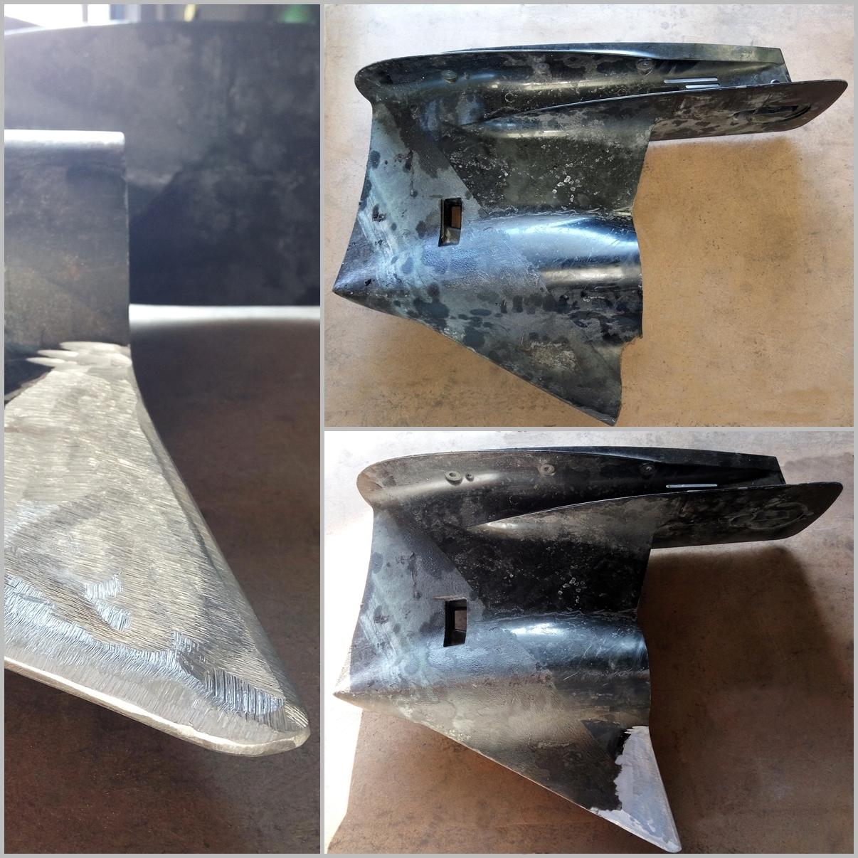 Reconstrucción de aleta cola fueraborda de aluminio