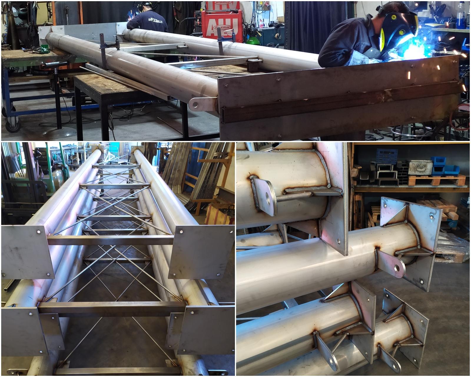 Fabricación de apoyos de 7 metros en acero inoxidable para plataforma elevada a instalar en planta industrial